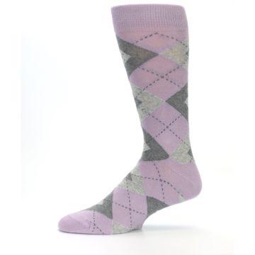 Image of Quartz Gray Argyle Wedding Groomsmen Men's Dress Socks (side-2-11)