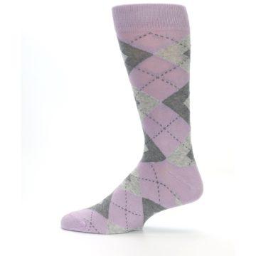 Image of Quartz Gray Argyle Wedding Groomsmen Men's Dress Socks (side-2-12)