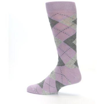 Image of Quartz Gray Argyle Wedding Groomsmen Men's Dress Socks (side-2-13)