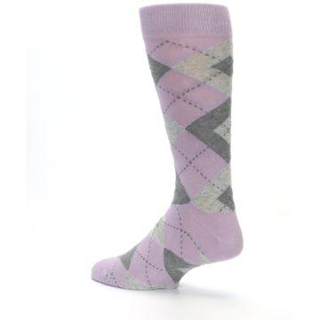 Image of Quartz Gray Argyle Wedding Groomsmen Men's Dress Socks (side-2-back-14)