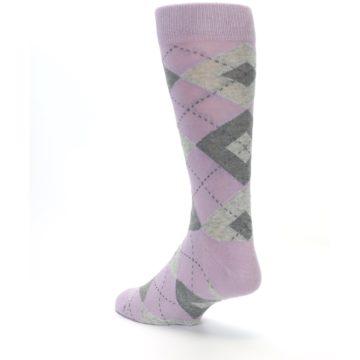 Image of Quartz Gray Argyle Wedding Groomsmen Men's Dress Socks (side-2-back-15)