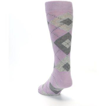 Image of Quartz Gray Argyle Wedding Groomsmen Men's Dress Socks (side-2-back-16)