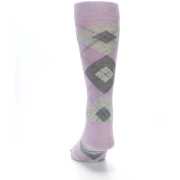 Image of Quartz Gray Argyle Wedding Groomsmen Men's Dress Socks (back-17)