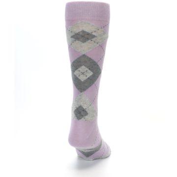 Image of Quartz Gray Argyle Wedding Groomsmen Men's Dress Socks (back-19)