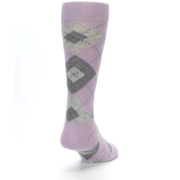 Image of Quartz Gray Argyle Wedding Groomsmen Men's Dress Socks (side-1-back-20)