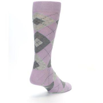 Image of Quartz Gray Argyle Wedding Groomsmen Men's Dress Socks (side-1-back-21)
