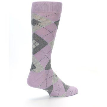 Image of Quartz Gray Argyle Wedding Groomsmen Men's Dress Socks (side-1-back-22)