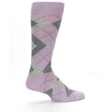 Image of Quartz Gray Argyle Wedding Groomsmen Men's Dress Socks (side-1-23)