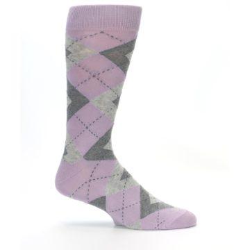 Image of Quartz Gray Argyle Wedding Groomsmen Men's Dress Socks (side-1-24)