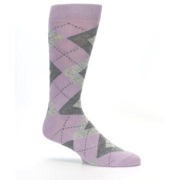 Image of Quartz Gray Argyle Wedding Groomsmen Men's Dress Socks (side-1-25)
