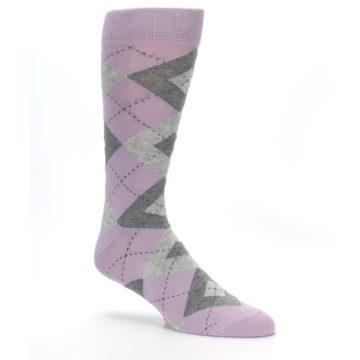 Image of Quartz Gray Argyle Wedding Groomsmen Men's Dress Socks (side-1-26)