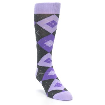 Image of Lilac Iris Purple Gray Argyle Wedding Groomsmen Men's Dress Socks (side-1-front-02)