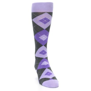 Image of Lilac Iris Purple Gray Argyle Wedding Groomsmen Men's Dress Socks (side-1-front-03)