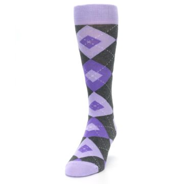 Image of Lilac Iris Purple Gray Argyle Wedding Groomsmen Men's Dress Socks (side-2-front-06)