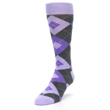 Image of Lilac Iris Purple Gray Argyle Wedding Groomsmen Men's Dress Socks (side-2-front-07)