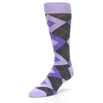 Image of Lilac Iris Purple Gray Argyle Wedding Groomsmen Men's Dress Socks (side-2-front-08)
