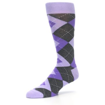 Image of Lilac Iris Purple Gray Argyle Wedding Groomsmen Men's Dress Socks (side-2-09)