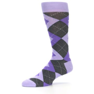 Image of Lilac Iris Purple Gray Argyle Wedding Groomsmen Men's Dress Socks (side-2-10)