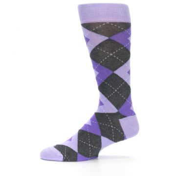 Image of Lilac Iris Purple Gray Argyle Wedding Groomsmen Men's Dress Socks (side-2-11)