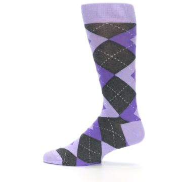 Image of Lilac Iris Purple Gray Argyle Wedding Groomsmen Men's Dress Socks (side-2-12)