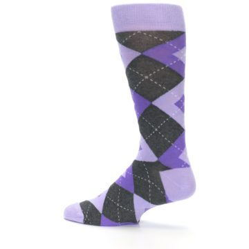 Image of Lilac Iris Purple Gray Argyle Wedding Groomsmen Men's Dress Socks (side-2-13)