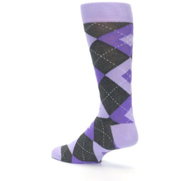 Image of Lilac Iris Purple Gray Argyle Wedding Groomsmen Men's Dress Socks (side-2-back-14)
