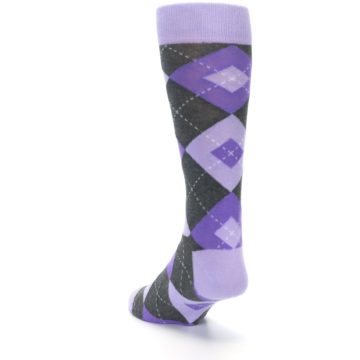 Image of Lilac Iris Purple Gray Argyle Wedding Groomsmen Men's Dress Socks (side-2-back-16)