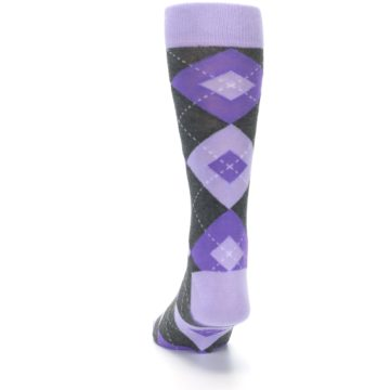 Image of Lilac Iris Purple Gray Argyle Wedding Groomsmen Men's Dress Socks (back-17)