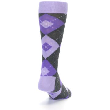 Image of Lilac Iris Purple Gray Argyle Wedding Groomsmen Men's Dress Socks (side-1-back-20)