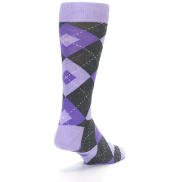 Image of Lilac Iris Purple Gray Argyle Wedding Groomsmen Men's Dress Socks (side-1-back-21)