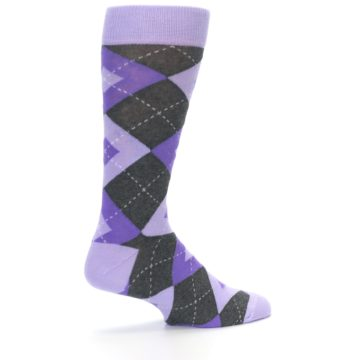 Image of Lilac Iris Purple Gray Argyle Wedding Groomsmen Men's Dress Socks (side-1-23)