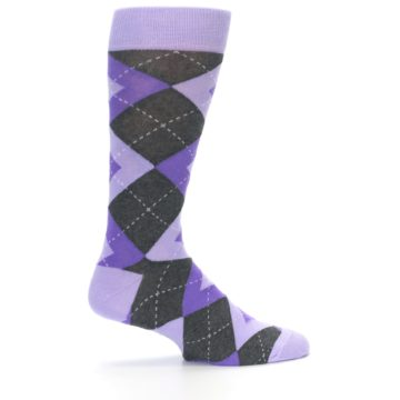 Image of Lilac Iris Purple Gray Argyle Wedding Groomsmen Men's Dress Socks (side-1-24)