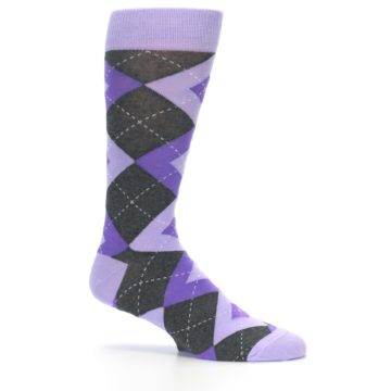 Image of Lilac Iris Purple Gray Argyle Wedding Groomsmen Men's Dress Socks (side-1-25)