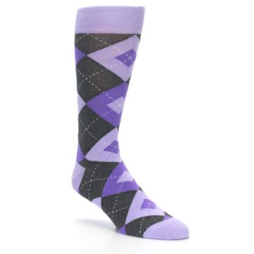 Image of Lilac Iris Purple Gray Argyle Wedding Groomsmen Men's Dress Socks (side-1-27)