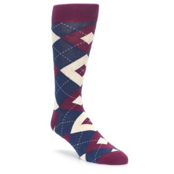 Image of Sangria Navy Argyle Wedding Groomsmen Men's Dress Socks (side-1-front-01)