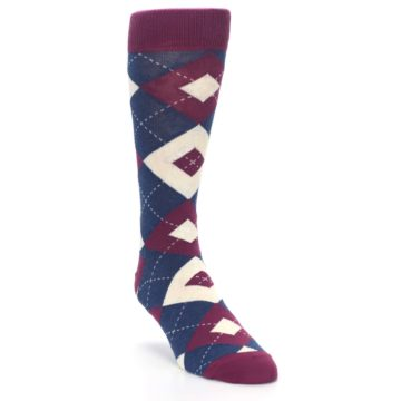 Image of Sangria Navy Argyle Wedding Groomsmen Men's Dress Socks (side-1-front-02)