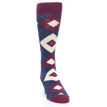 Image of Sangria Navy Argyle Wedding Groomsmen Men's Dress Socks (side-1-front-03)