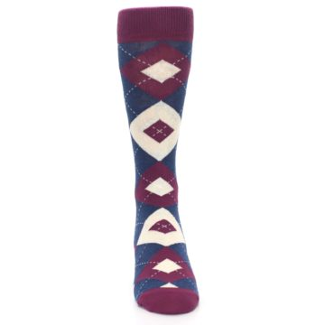 Image of Sangria Navy Argyle Wedding Groomsmen Men's Dress Socks (front-04)
