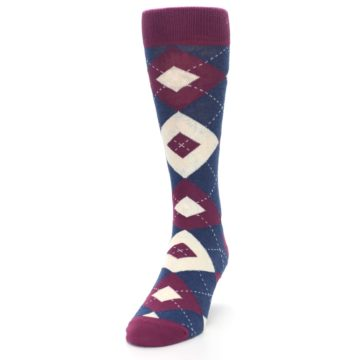 Image of Sangria Navy Argyle Wedding Groomsmen Men's Dress Socks (side-2-front-06)