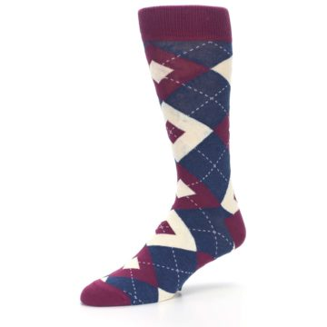Image of Sangria Navy Argyle Wedding Groomsmen Men's Dress Socks (side-2-09)