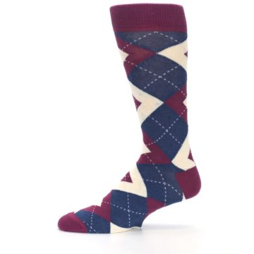 Image of Sangria Navy Argyle Wedding Groomsmen Men's Dress Socks (side-2-11)