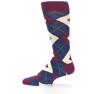 Image of Sangria Navy Argyle Wedding Groomsmen Men's Dress Socks (side-2-12)