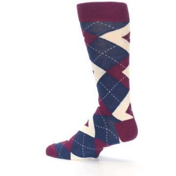 Image of Sangria Navy Argyle Wedding Groomsmen Men's Dress Socks (side-2-13)