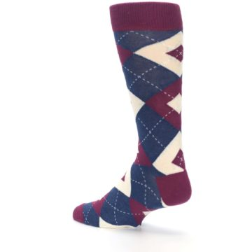 Image of Sangria Navy Argyle Wedding Groomsmen Men's Dress Socks (side-2-back-14)