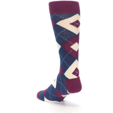Image of Sangria Navy Argyle Wedding Groomsmen Men's Dress Socks (side-2-back-15)