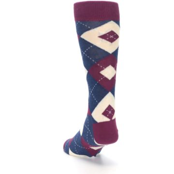 Image of Sangria Navy Argyle Wedding Groomsmen Men's Dress Socks (side-2-back-16)