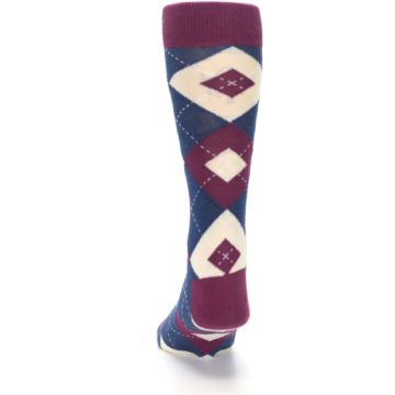 Image of Sangria Navy Argyle Wedding Groomsmen Men's Dress Socks (back-17)