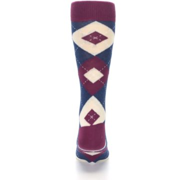 Image of Sangria Navy Argyle Wedding Groomsmen Men's Dress Socks (back-18)