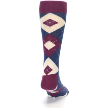 Image of Sangria Navy Argyle Wedding Groomsmen Men's Dress Socks (back-19)