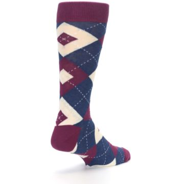Image of Sangria Navy Argyle Wedding Groomsmen Men's Dress Socks (side-1-back-21)